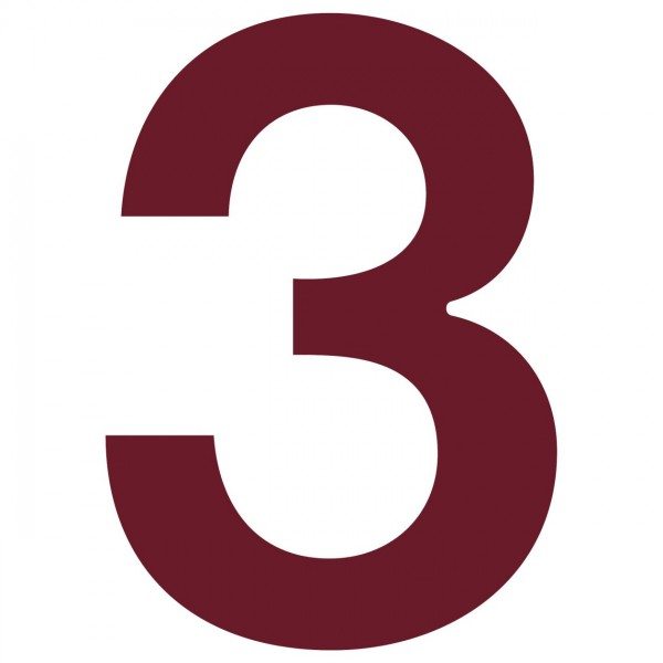 huisnummer ''3'' Rood