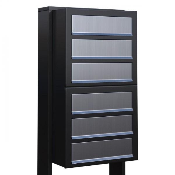 Postkastsysteem Cube voor zes Zwart met RVS inwerpklep