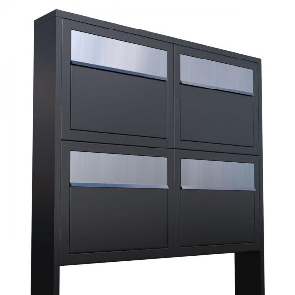 Postkastsysteem Elegance voor vier Zwart met RVS inwerpklep