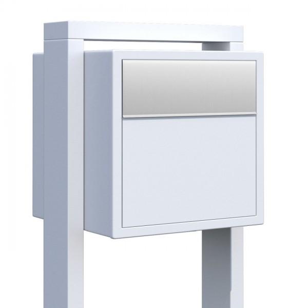 Vrijstaande brievenbus Soprano Wit met RVS inwerpklep