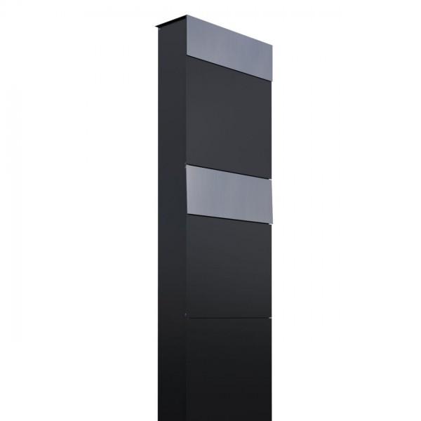 Postkastsysteem The Box voor twee Zwart met RVS inwerpklep