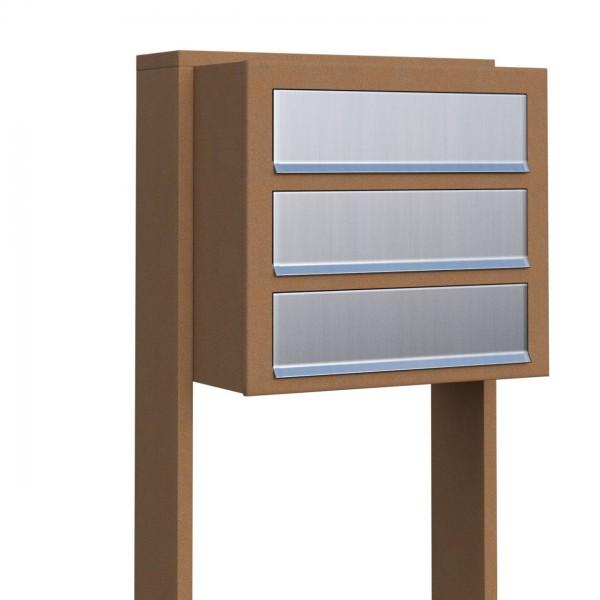 Postkastsysteem Cube voor drie Okerbruin met RVS inwerpklep