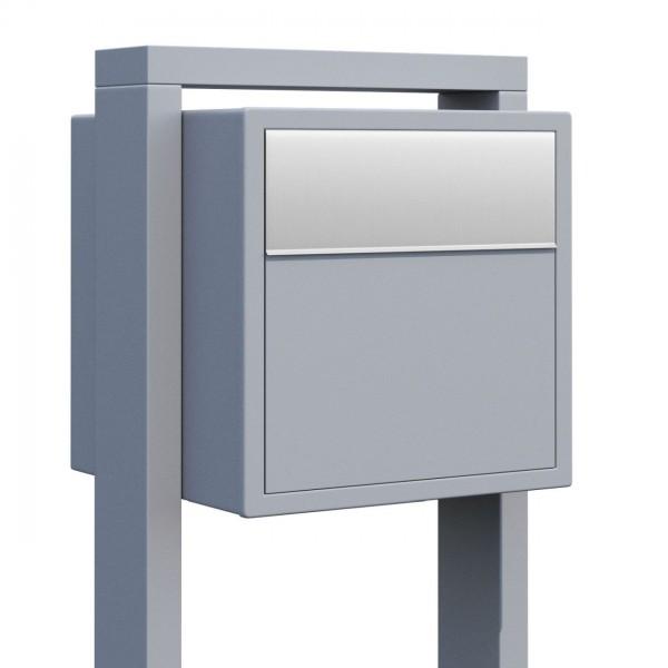 Vrijstaande brievenbus Soprano Grijs Mettallic met RVS inwerpklep