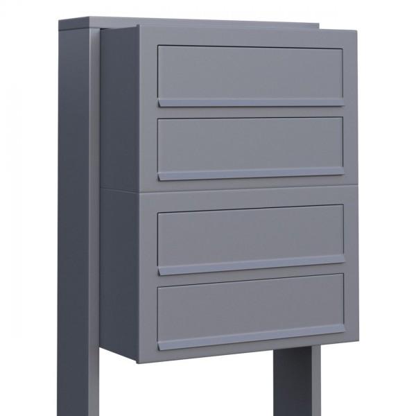 Postkastsysteem Cube voor vier Grijs Mettallic