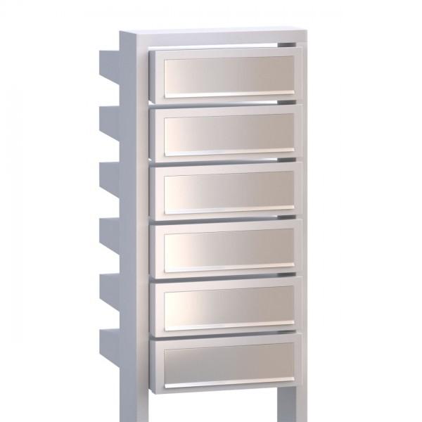 Postkastsysteem Stairs voor zes Wit met RVS inwerpklep