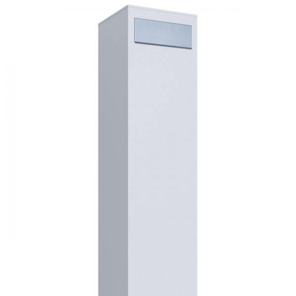 Vrijstaande brievenbus Monolith Wit met RVS inwerpklep