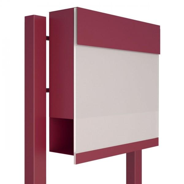 Vrijstaande brievenbus Manhattan Special White Rood