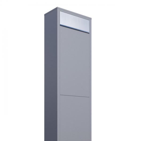 Vrijstaande brievenbus Big Box Grijs Mettallic met RVS inwerpklep