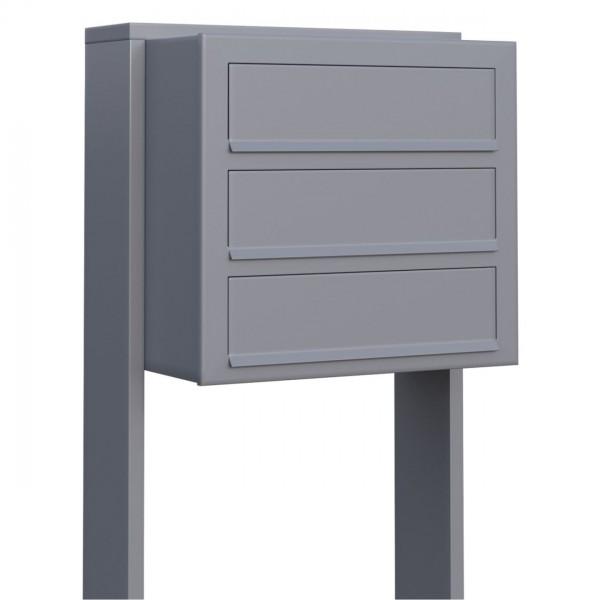 Postkastsysteem Cube voor drie Grijs Mettallic