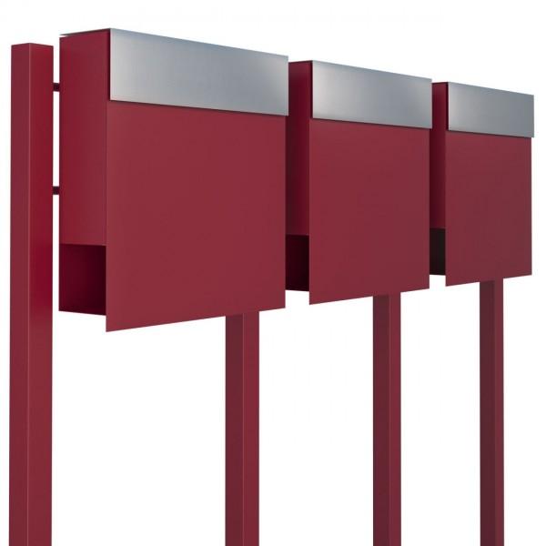 Postkastsysteem Manhattan voor drie Rood met RVS inwerpklep