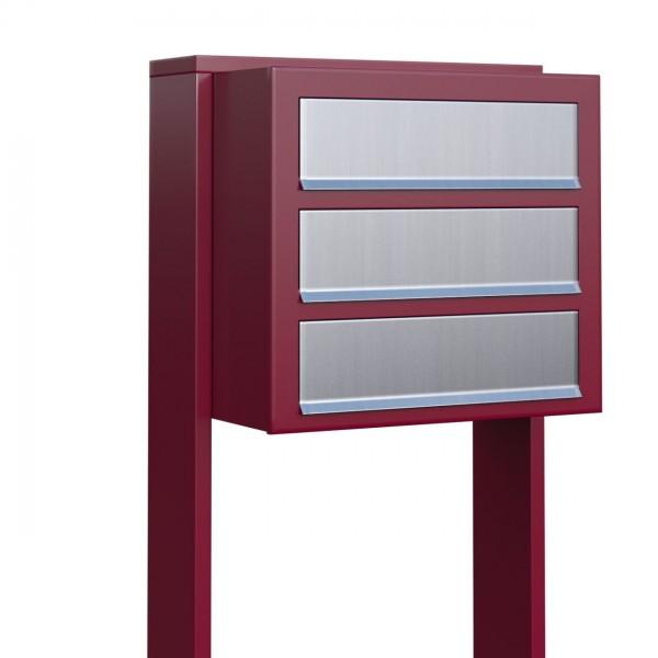 Postkastsysteem Cube voor drie Rood met RVS inwerpklep