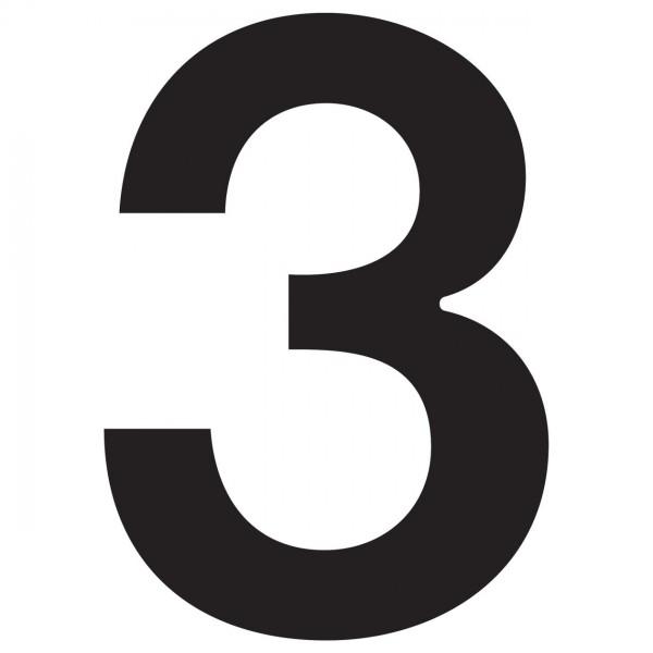 huisnummer ''3'' Zwart