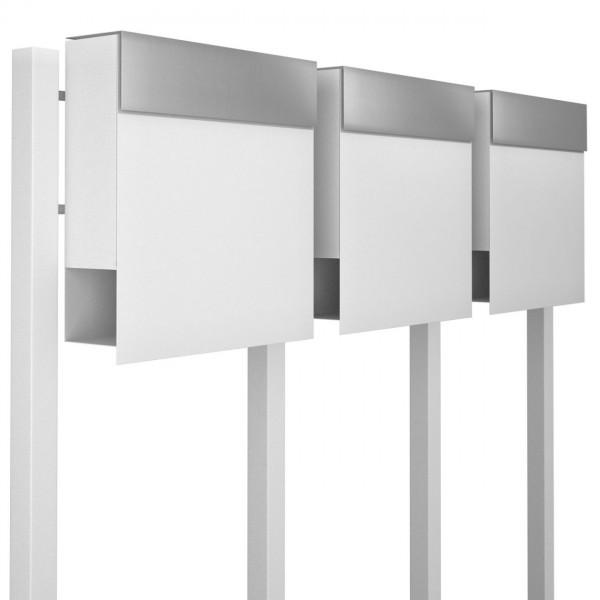 Postkastsysteem Manhattan voor drie Wit met RVS inwerpklep