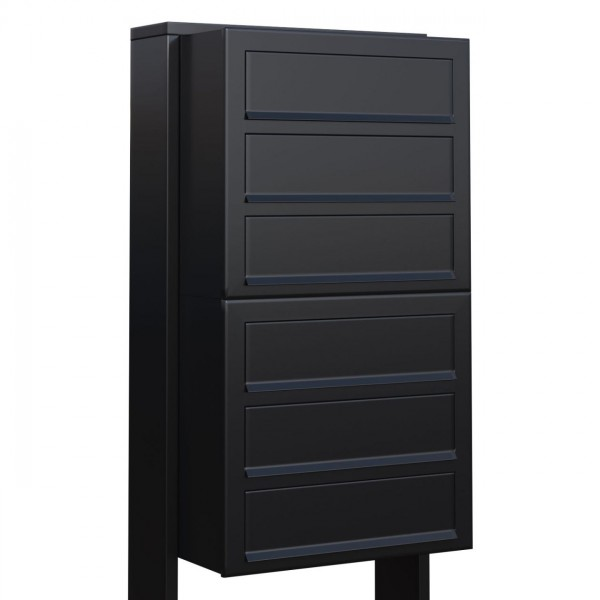 Postkastsysteem Cube voor zes Zwart