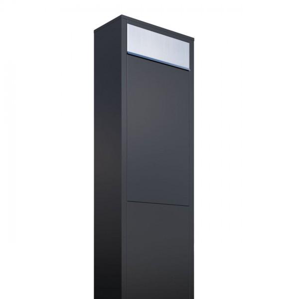 Vrijstaande brievenbus Big Box Zwart met RVS inwerpklep