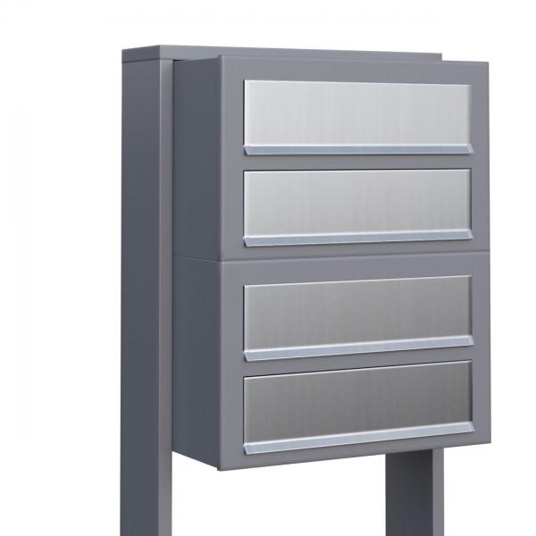 Postkastsysteem Cube voor vier Grijs Mettallic met RVS inwerpklep