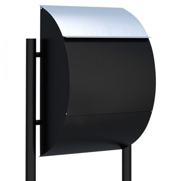 Vrijstaande brievenbus Jumbo Zwart met RVS inwerpklep