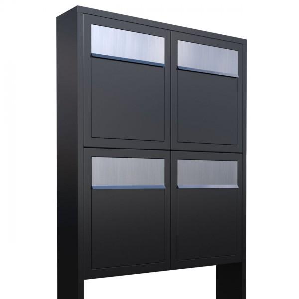 Postkastsysteem Base voor vier Zwart met RVS inwerpklep