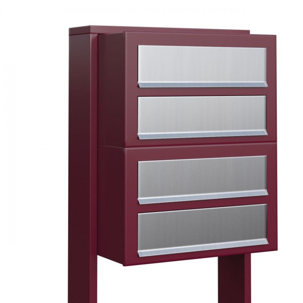 Postkastsysteem Cube voor vier Rood met RVS inwerpklep