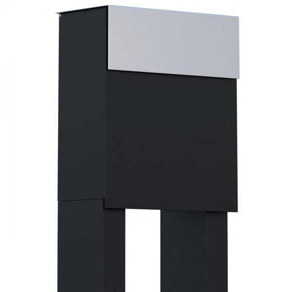 Vrijstaande brievenbus Alto Zwart met RVS inwerpklep