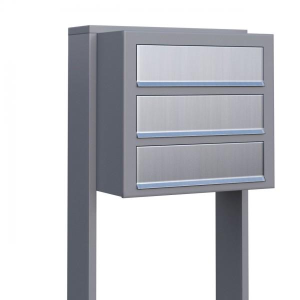 Postkastsysteem Cube voor drie Grijs Mettallic met RVS inwerpklep