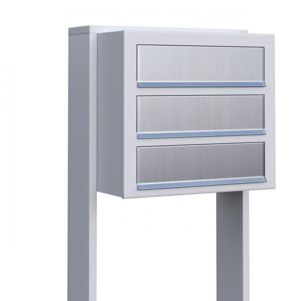 Postkastsysteem Cube voor drie Wit met RVS inwerpklep