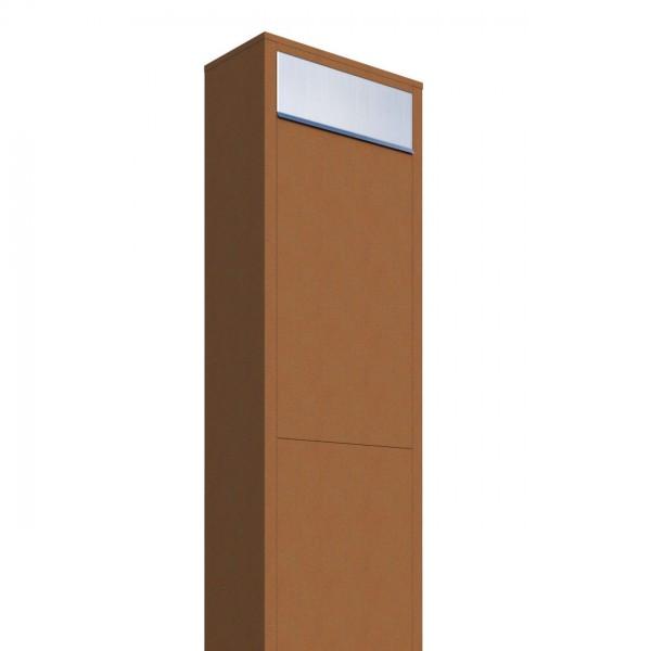 Vrijstaande brievenbus Big Box Okerbruin met RVS inwerpklep