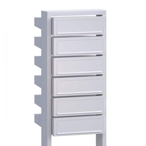 Postkastsysteem Stairs voor zes Wit