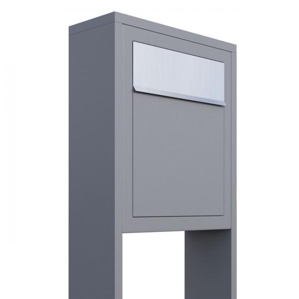 Vrijstaande brievenbus Base Grijs Mettallic met RVS inwerpklep