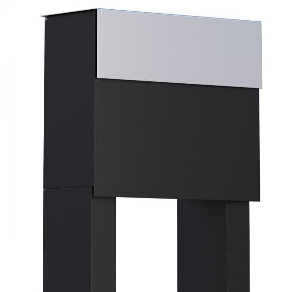 Vrijstaande brievenbus Molto Zwart met RVS inwerpklep