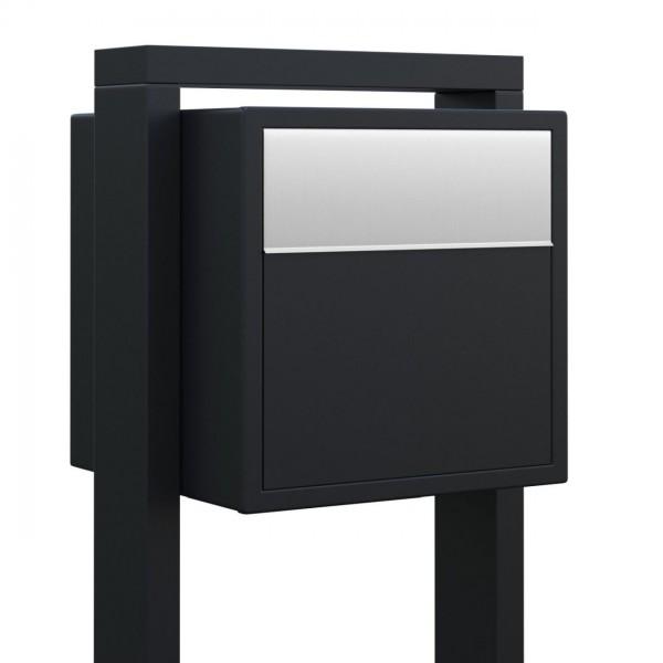 Vrijstaande brievenbus Soprano Zwart met RVS inwerpklep