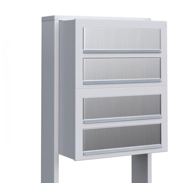 Postkastsysteem Cube voor vier Wit met RVS inwerpklep