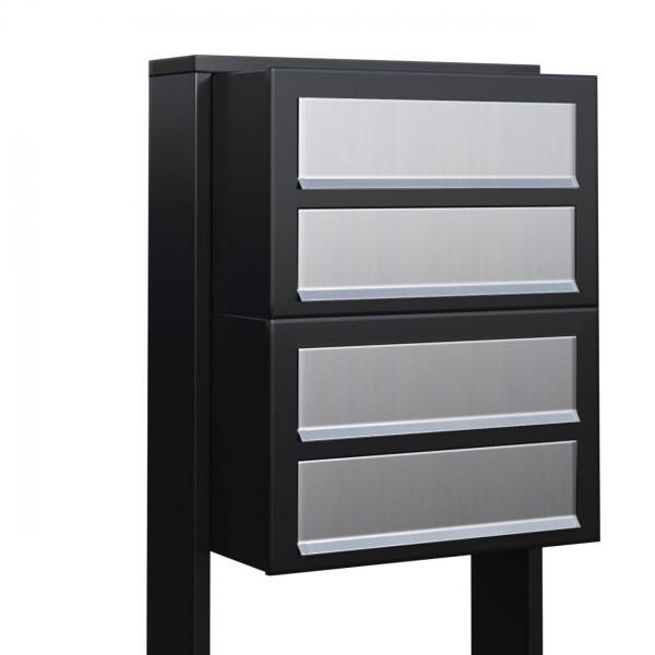 Postkastsysteem Cube voor vier Zwart met RVS inwerpklep